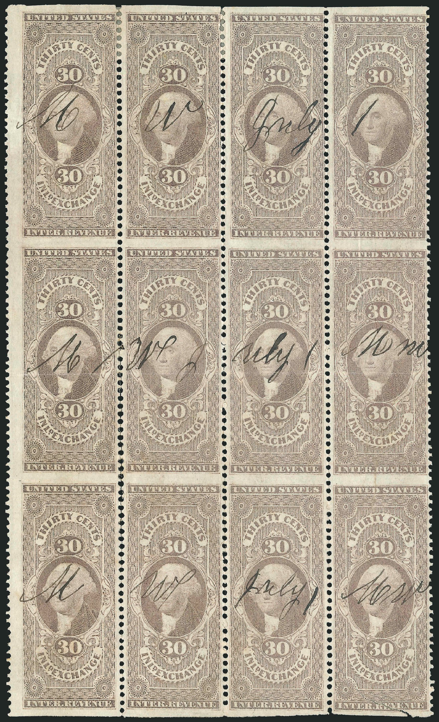US Stamps Values Scott Catalog # R52 - 30c 1862 Revenue Inland Exchange. Robert Siegel Auction Galleries, Dec 2014, Sale 1089, Lot 407