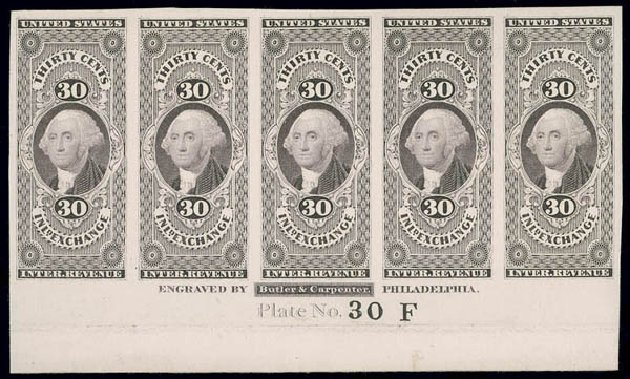 Costs of US Stamp Scott Catalog R52 - 30c 1862 Revenue Inland Exchange. Matthew Bennett International, Jun 2008, Sale 328, Lot 1324