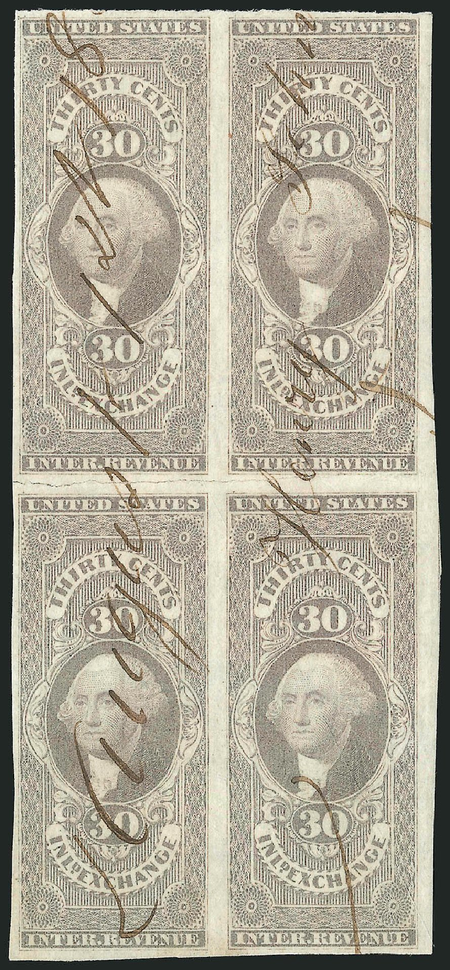 Values of US Stamps Scott Cat. # R52: 30c 1862 Revenue Inland Exchange. Robert Siegel Auction Galleries, Dec 2014, Sale 1089, Lot 343