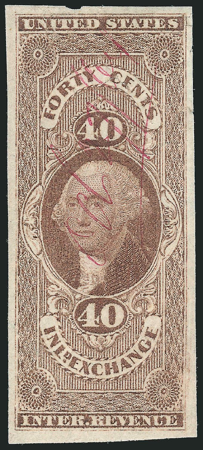 Cost of US Stamp Scott # R53 - 40c 1862 Revenue Inland Exchange. Robert Siegel Auction Galleries, Dec 2014, Sale 1089, Lot 228