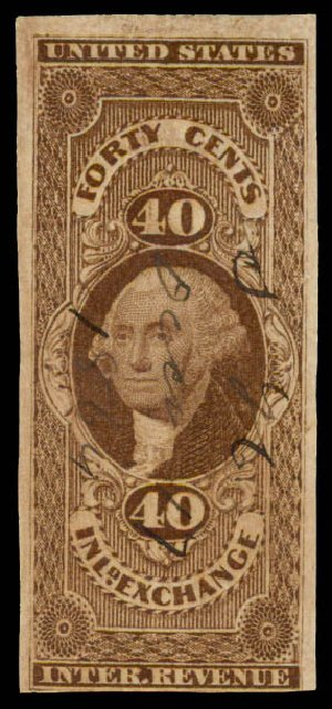 Values of US Stamps Scott Catalogue R53: 40c 1862 Revenue Inland Exchange. Daniel Kelleher Auctions, May 2015, Sale 665, Lot 70