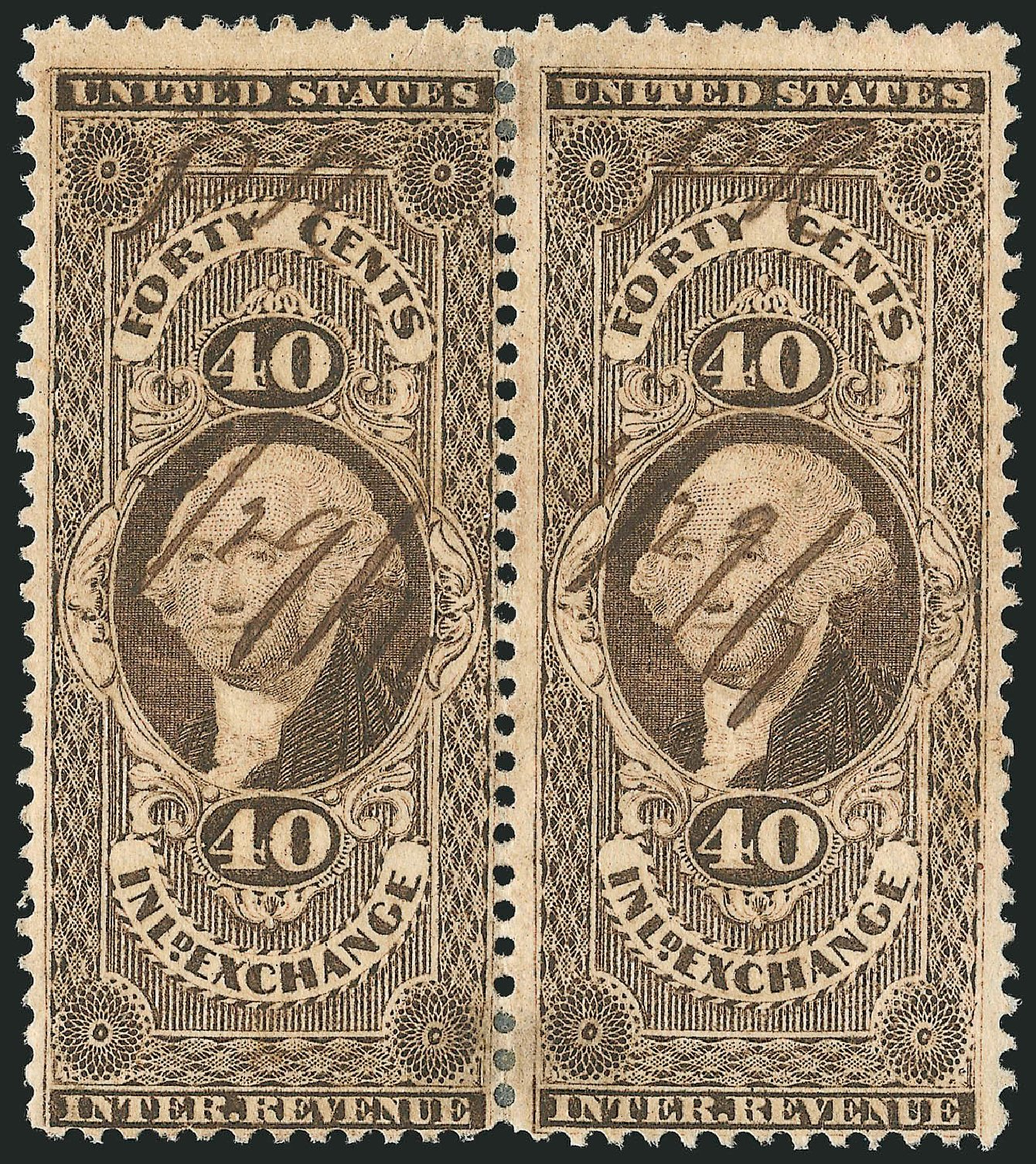 US Stamps Values Scott Catalog #R53 - 1862 40c Revenue Inland Exchange. Robert Siegel Auction Galleries, Dec 2014, Sale 1089, Lot 460