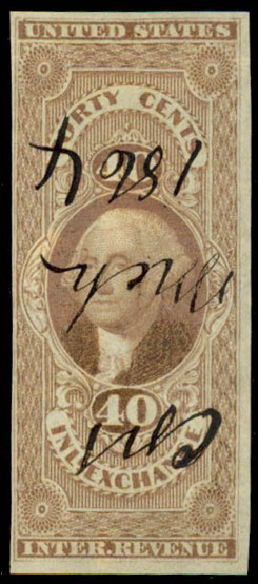 US Stamps Price Scott Catalog # R53: 40c 1862 Revenue Inland Exchange. Daniel Kelleher Auctions, Jun 2015, Sale 670, Lot 11