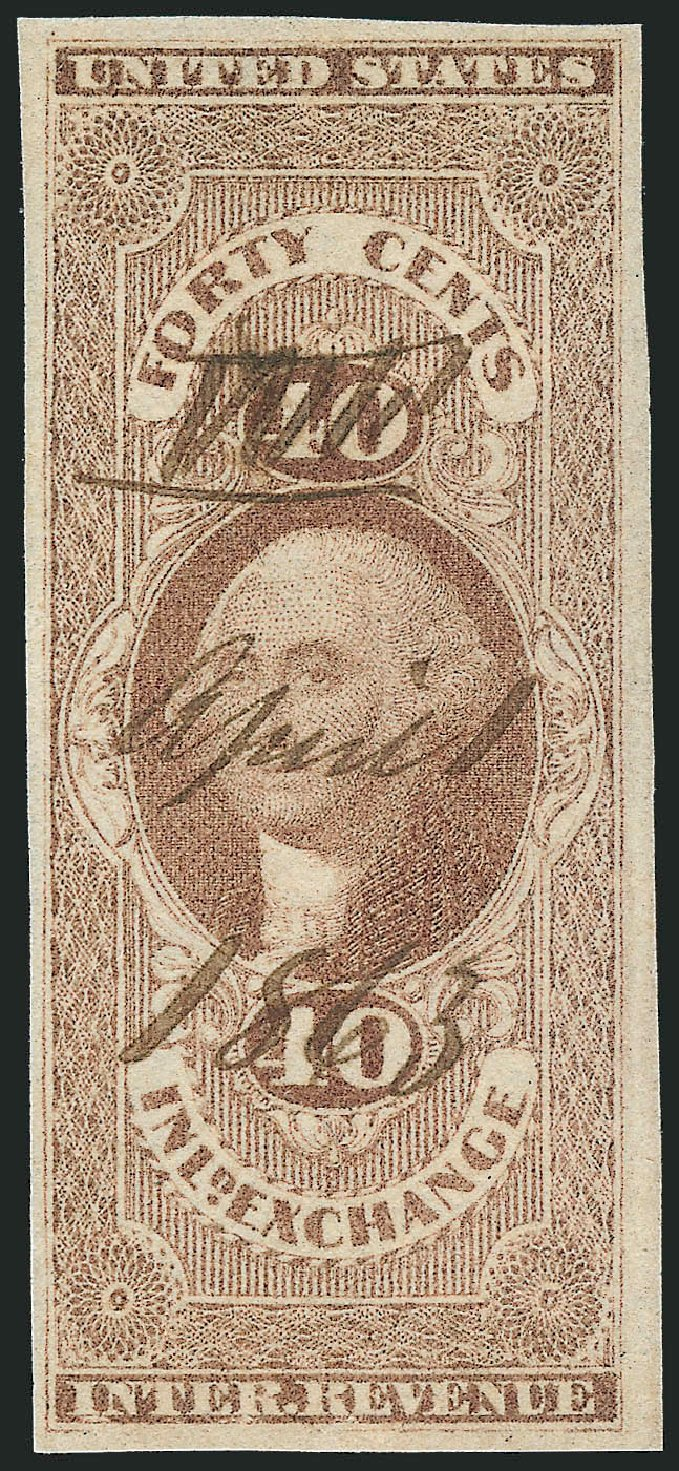 Value of US Stamps Scott Cat. # R53 - 1862 40c Revenue Inland Exchange. Robert Siegel Auction Galleries, Nov 2011, Sale 1015, Lot 11