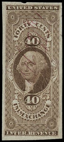 Cost of US Stamp Scott Catalogue # R53 - 1862 40c Revenue Inland Exchange. Matthew Bennett International, Jun 2008, Sale 328, Lot 1373
