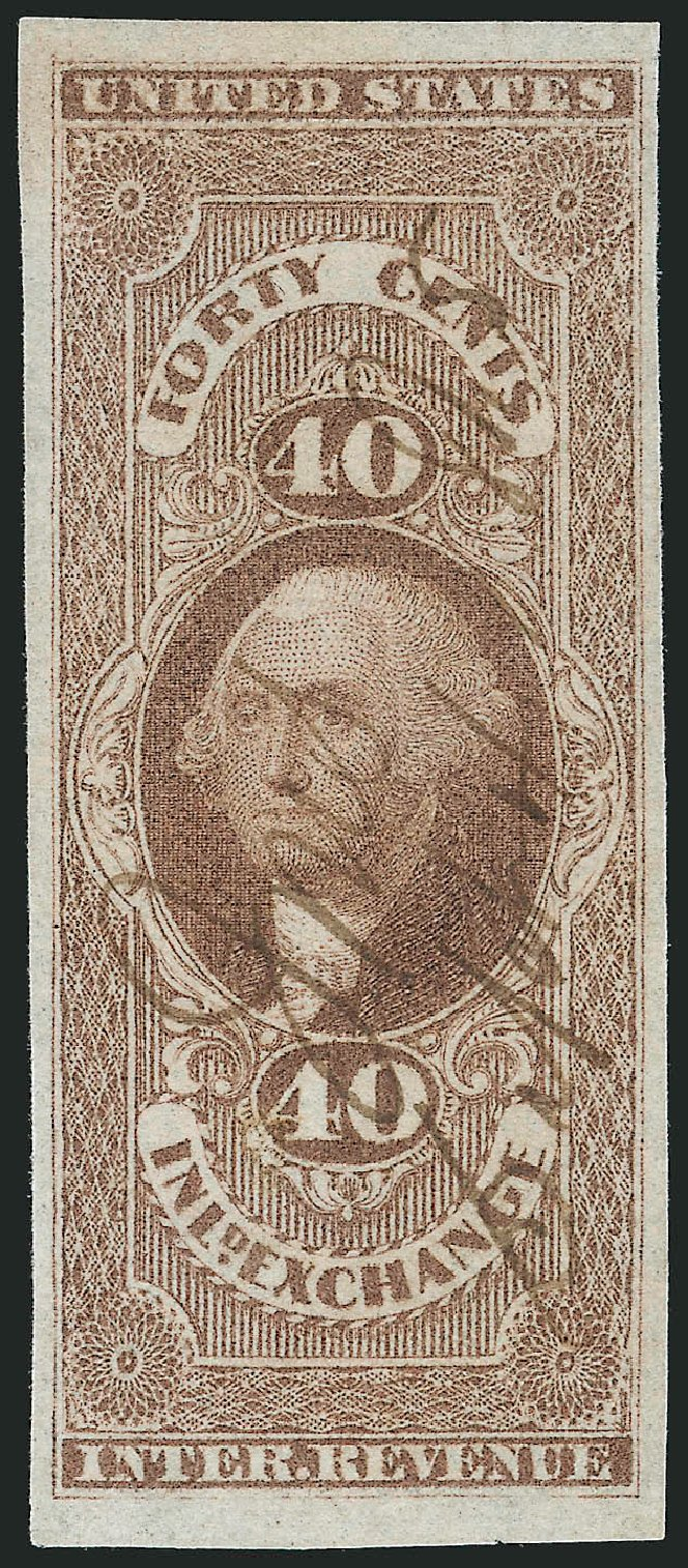 Price of US Stamps Scott Catalogue R53: 40c 1862 Revenue Inland Exchange. Robert Siegel Auction Galleries, Mar 2014, Sale 1066, Lot 13