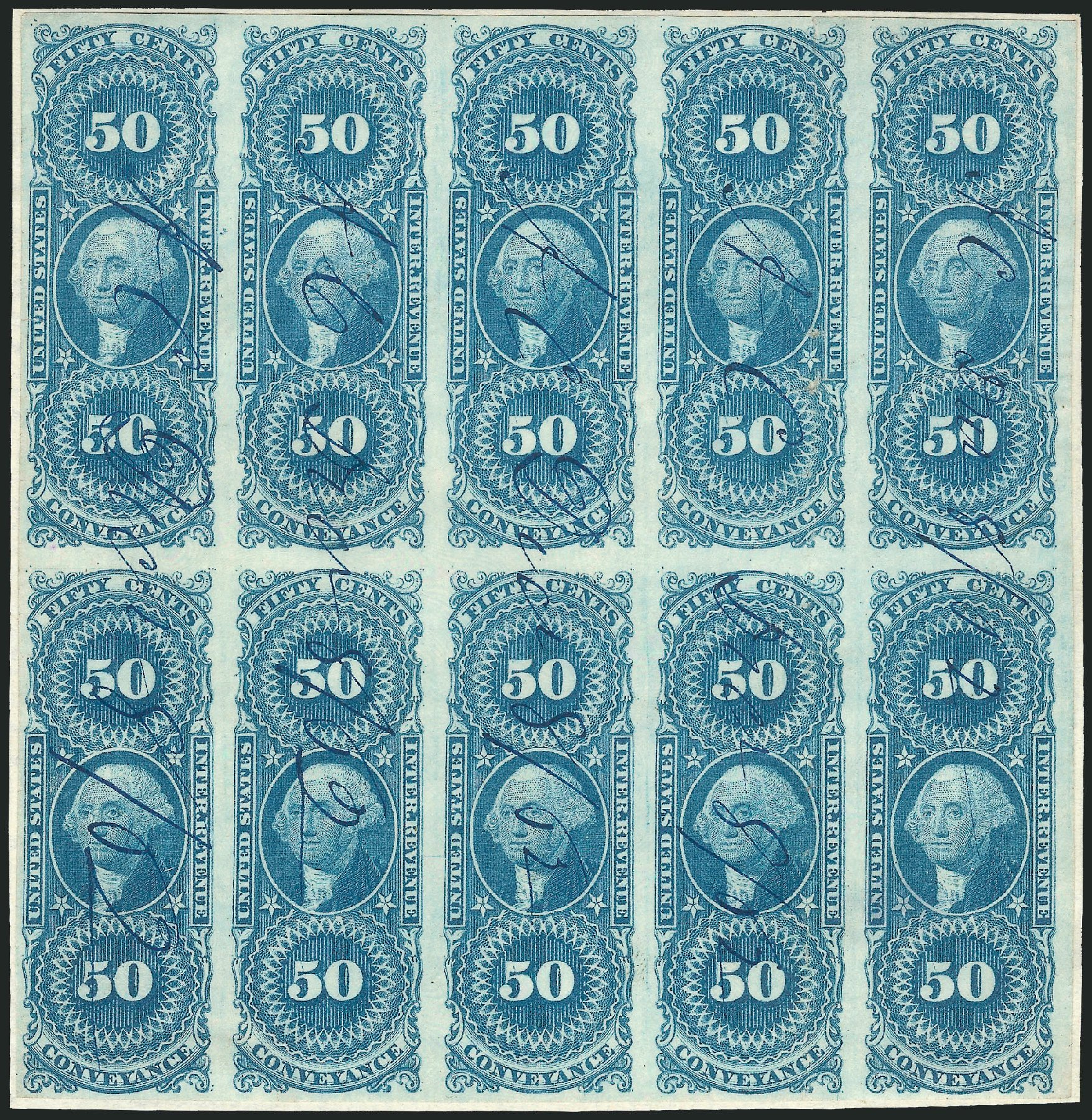 Value of US Stamp Scott # R54 - 50c 1862 Revenue Conveyance. Robert Siegel Auction Galleries, Nov 2013, Sale 1061, Lot 4279