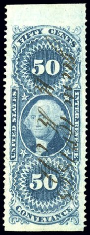 Cost of US Stamps Scott R54 - 50c 1862 Revenue Conveyance. Matthew Bennett International, Dec 2008, Sale 330, Lot 1985