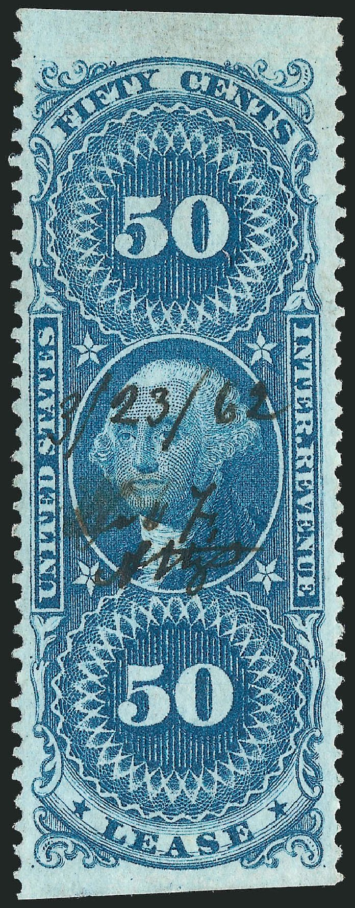 Values of US Stamps Scott Catalog R57 - 1862 50c Revenue Lease. Robert Siegel Auction Galleries, Nov 2011, Sale 1015, Lot 58