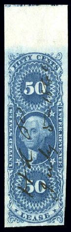 Value of US Stamps Scott Cat. #R57 - 50c 1862 Revenue Lease. Matthew Bennett International, Dec 2008, Sale 330, Lot 1986