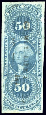 Values of US Stamp Scott Catalog # R58 - 50c 1862 Revenue Life Insurance. Matthew Bennett International, Dec 2008, Sale 330, Lot 1988