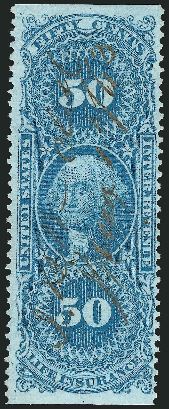 Costs of US Stamps Scott # R58 - 50c 1862 Revenue Life Insurance. Robert Siegel Auction Galleries, Nov 2011, Sale 1015, Lot 59