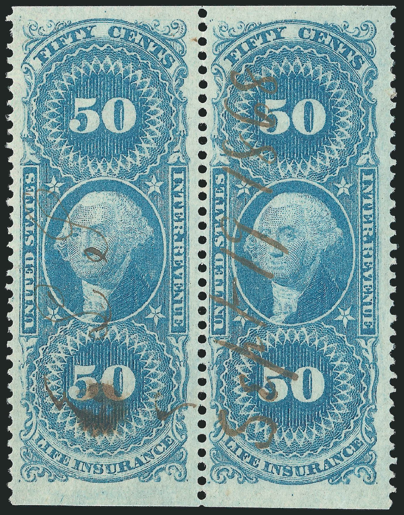 Price of US Stamp Scott Catalogue # R58: 50c 1862 Revenue Life Insurance. Robert Siegel Auction Galleries, Dec 2014, Sale 1089, Lot 410