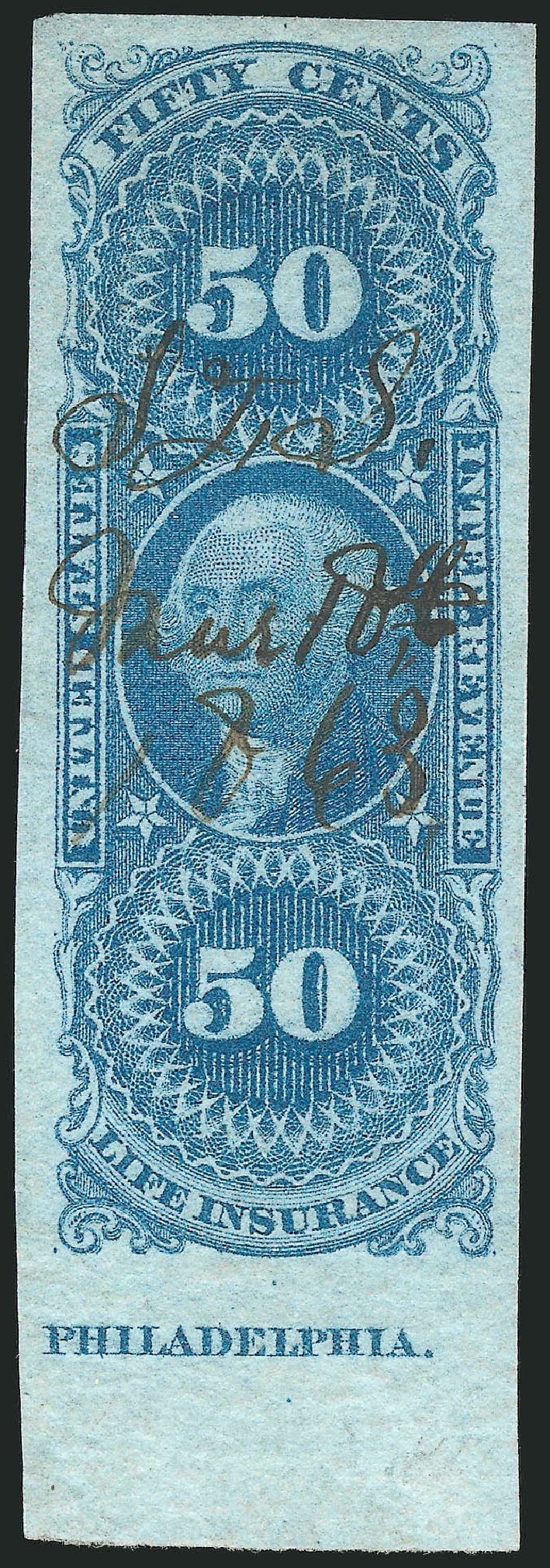 Value of US Stamps Scott Catalog R58 - 50c 1862 Revenue Life Insurance. Robert Siegel Auction Galleries, Mar 2014, Sale 1066, Lot 15