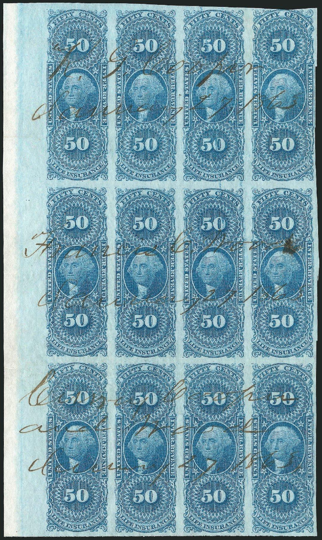 US Stamp Value Scott Cat. #R58 - 1862 50c Revenue Life Insurance. Robert Siegel Auction Galleries, Dec 2014, Sale 1089, Lot 345