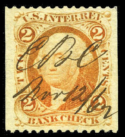 Values of US Stamp Scott Cat. #R6 - 2c 1862 Revenue Bank Check. Matthew Bennett International, Mar 2012, Sale 344, Lot 4831