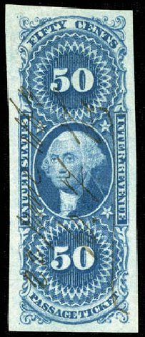 Prices of US Stamps Scott Cat. R61: 50c 1862 Revenue Passage Ticket. Matthew Bennett International, Mar 2012, Sale 344, Lot 4840