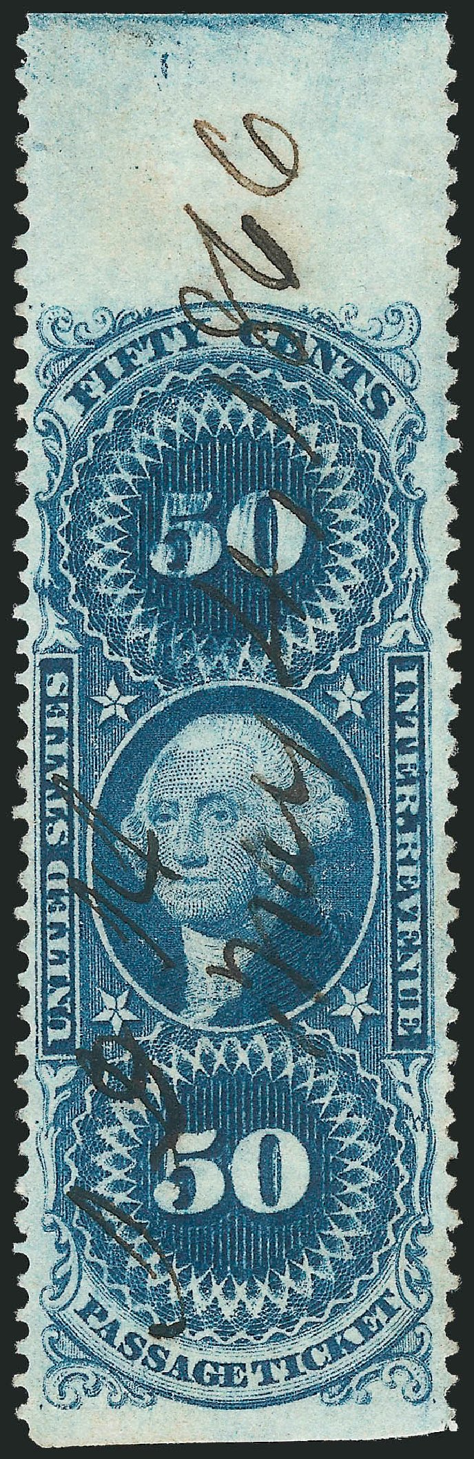 Costs of US Stamp Scott Cat. # R61 - 50c 1862 Revenue Passage Ticket. Robert Siegel Auction Galleries, Nov 2011, Sale 1015, Lot 60