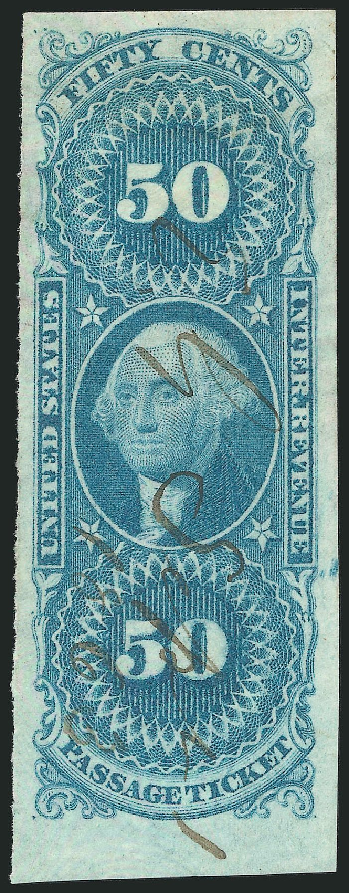 Values of US Stamp Scott Catalog # R61: 1862 50c Revenue Passage Ticket. Robert Siegel Auction Galleries, Mar 2014, Sale 1067, Lot 530