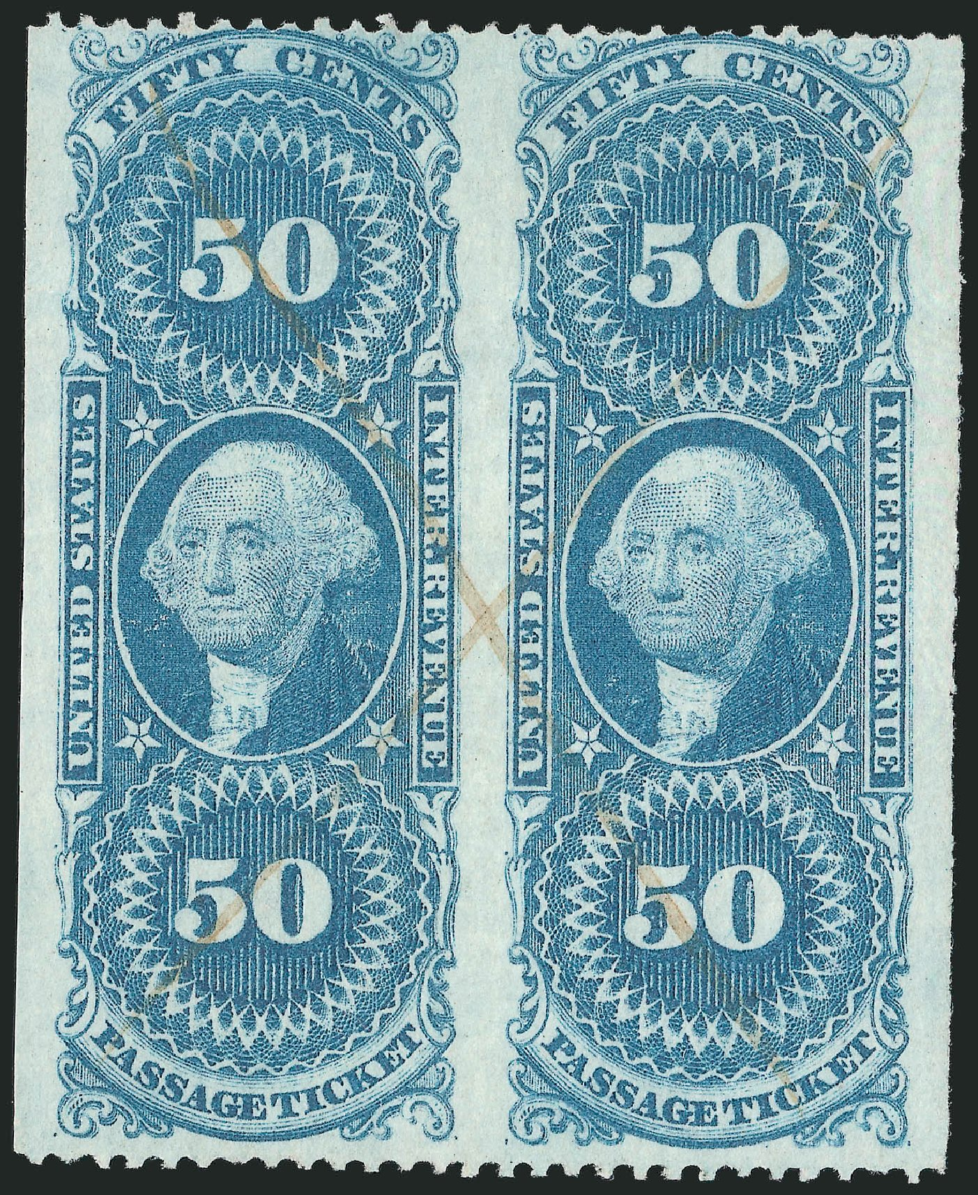 US Stamps Price Scott # R61: 50c 1862 Revenue Passage Ticket. Robert Siegel Auction Galleries, Dec 2014, Sale 1089, Lot 411