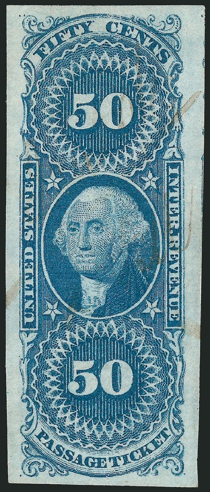 Values of US Stamp Scott Cat. # R61 - 1862 50c Revenue Passage Ticket. Robert Siegel Auction Galleries, Nov 2011, Sale 1015, Lot 12