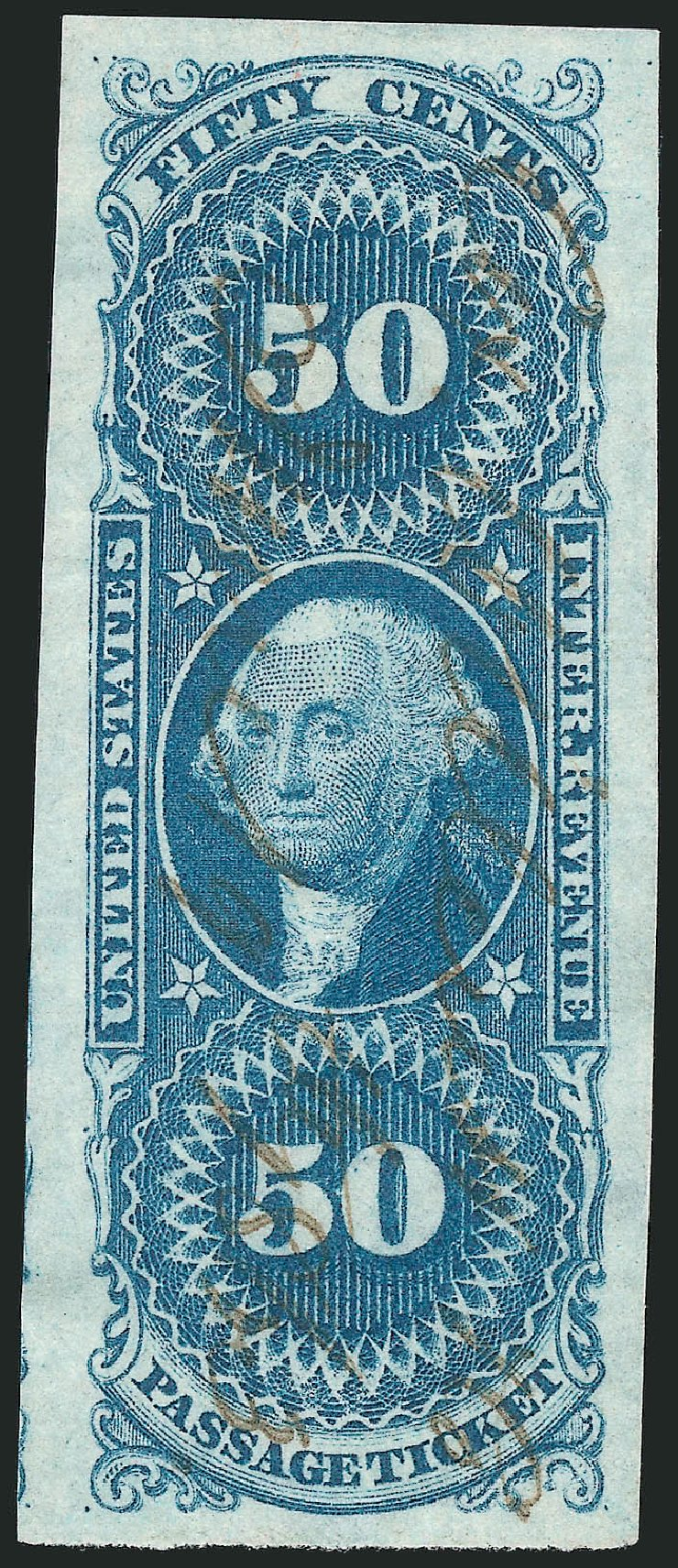 US Stamps Price Scott Catalogue R61: 50c 1862 Revenue Passage Ticket. Robert Siegel Auction Galleries, Mar 2014, Sale 1066, Lot 16