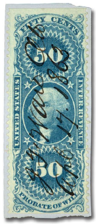 Values of US Stamp Scott #R62: 1862 50c Revenue Probate of Will. Daniel Kelleher Auctions, Jun 2015, Sale 670, Lot 13