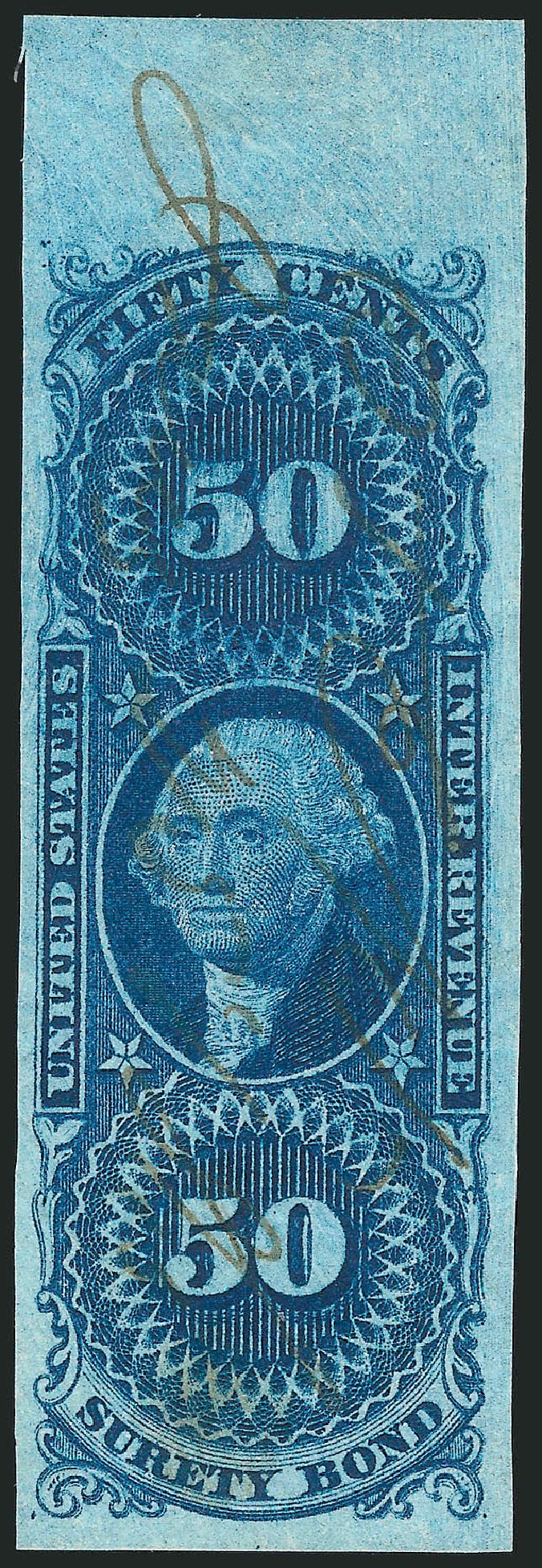 US Stamp Prices Scott Cat. #R63: 50c 1862 Revenue Surety Bond. Robert Siegel Auction Galleries, Mar 2014, Sale 1066, Lot 17