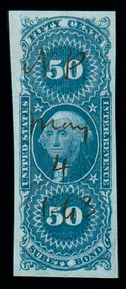 Cost of US Stamps Scott Catalog #R63 - 1862 50c Revenue Surety Bond. Matthew Bennett International, Dec 2007, Sale 325, Lot 2608