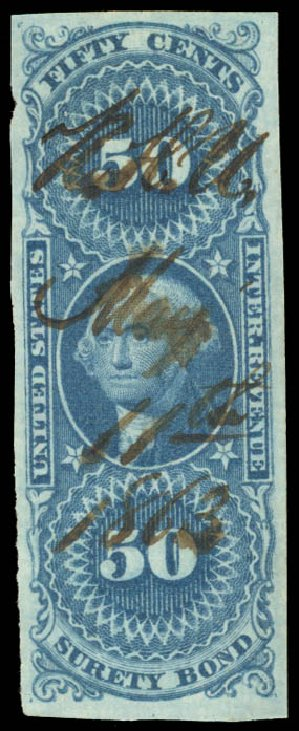 US Stamps Prices Scott Cat. #R63: 50c 1862 Revenue Surety Bond. Daniel Kelleher Auctions, Aug 2015, Sale 672, Lot 3069