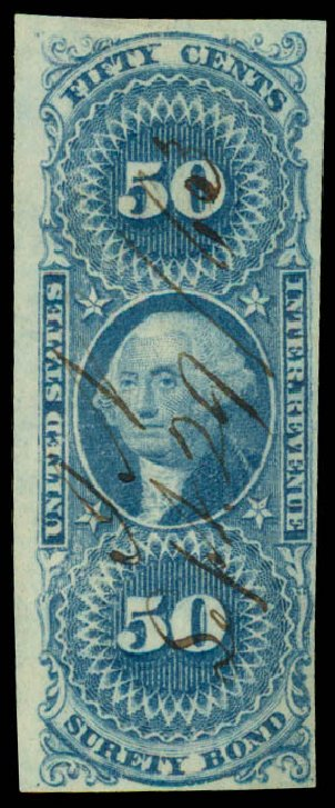 Costs of US Stamp Scott Catalog #R63 - 1862 50c Revenue Surety Bond. Daniel Kelleher Auctions, May 2015, Sale 665, Lot 90