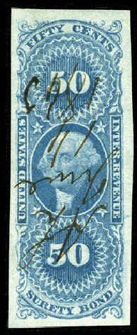 US Stamps Value Scott #R63 - 1862 50c Revenue Surety Bond. Matthew Bennett International, Mar 2012, Sale 344, Lot 4841