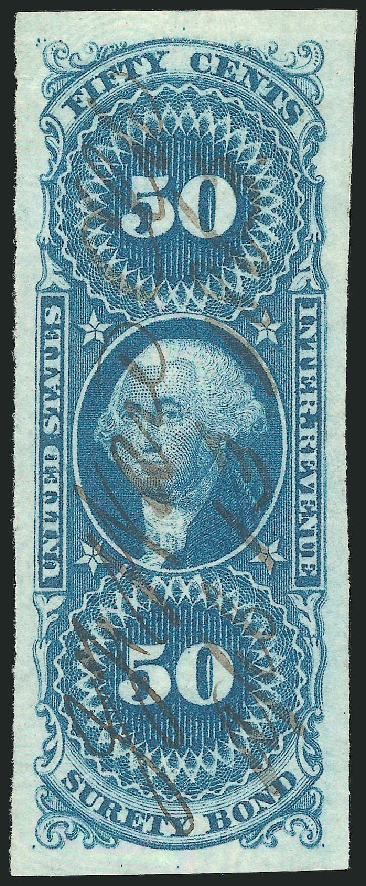 US Stamp Price Scott Cat. # R63 - 50c 1862 Revenue Surety Bond. Robert Siegel Auction Galleries, Mar 2014, Sale 1067, Lot 531
