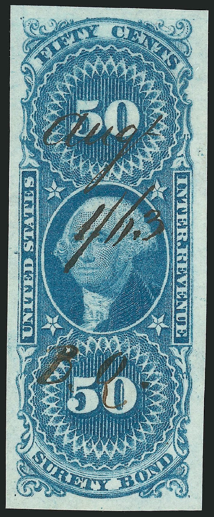 Cost of US Stamps Scott Catalogue R63: 1862 50c Revenue Surety Bond. Robert Siegel Auction Galleries, Feb 2015, Sale 1092, Lot 1495