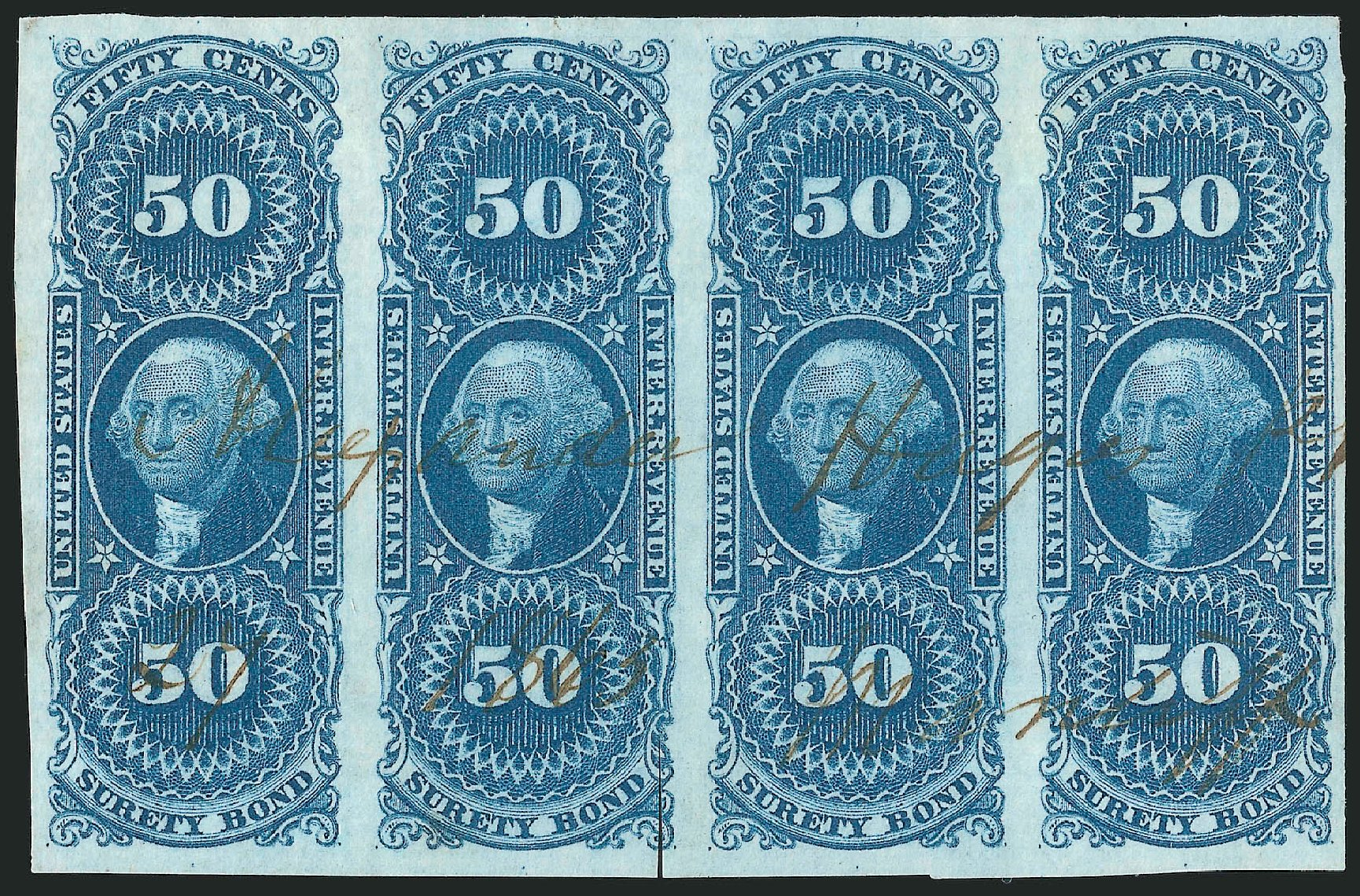 US Stamps Value Scott # R63: 50c 1862 Revenue Surety Bond. Robert Siegel Auction Galleries, Jun 2015, Sale 1100, Lot 153