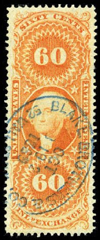 US Stamp Value Scott Catalog # R64 - 1862 60c Revenue Inland Exchange. Matthew Bennett International, Mar 2012, Sale 344, Lot 4842