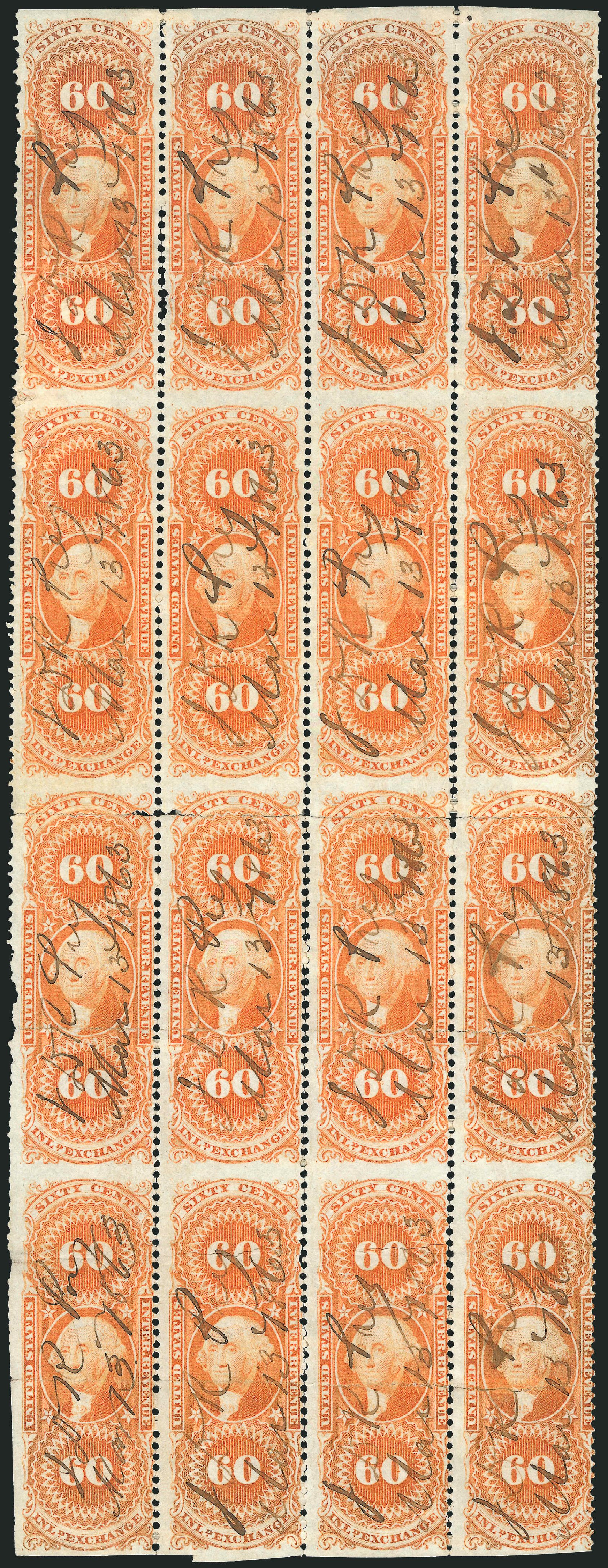 Values of US Stamp Scott Cat. # R64 - 1862 60c Revenue Inland Exchange. Robert Siegel Auction Galleries, Dec 2014, Sale 1089, Lot 413