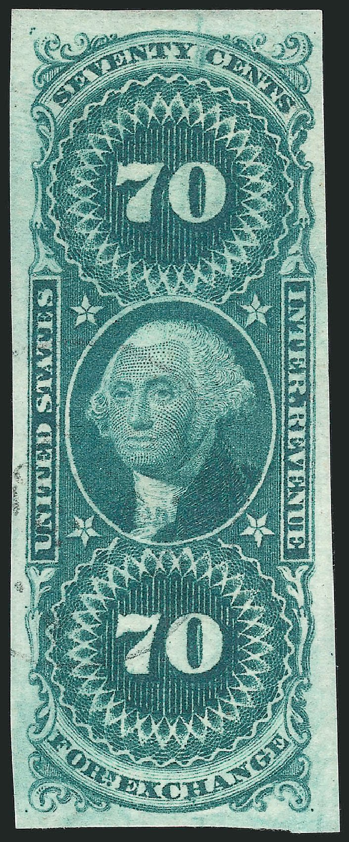 Values of US Stamp Scott Cat. R65 - 1862 70c Revenue Foreign Exchange. Robert Siegel Auction Galleries, Mar 2014, Sale 1066, Lot 18