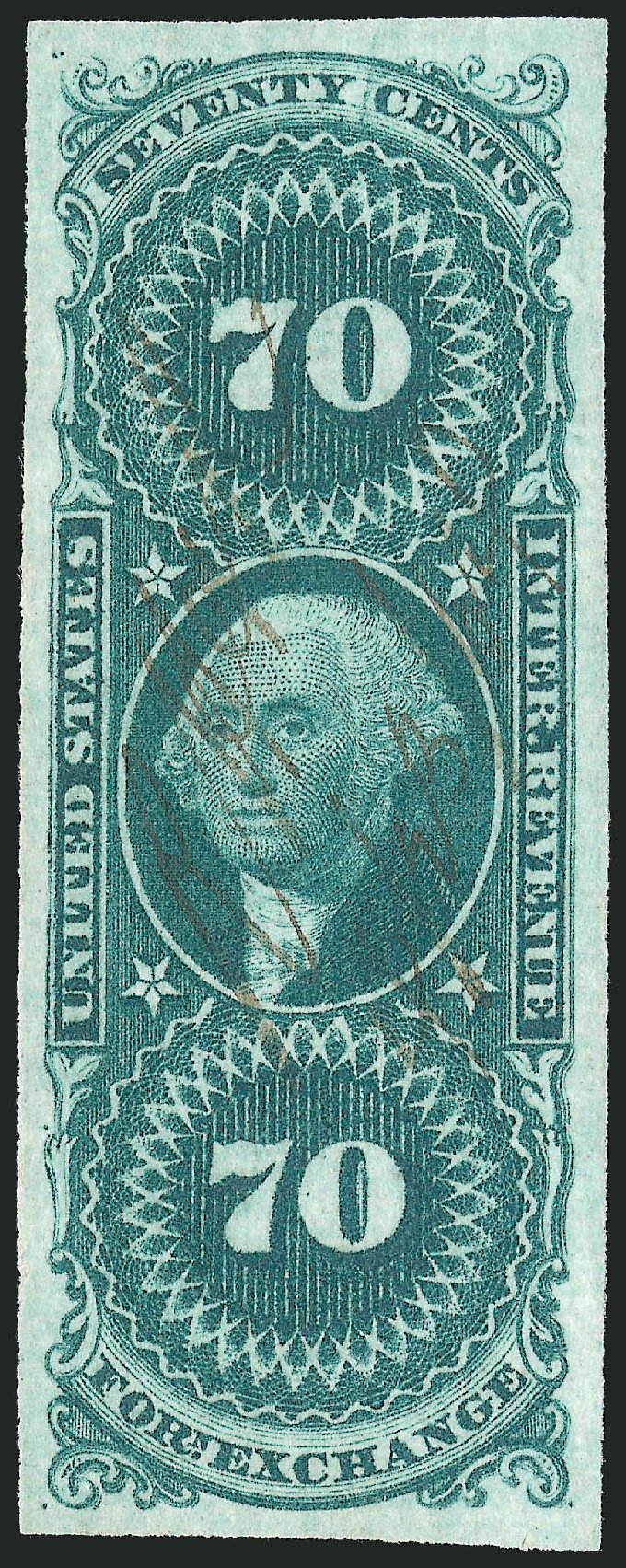 Value of US Stamp Scott Catalog #R65 - 1862 70c Revenue Foreign Exchange. Robert Siegel Auction Galleries, Oct 2012, Sale 1031, Lot 1009