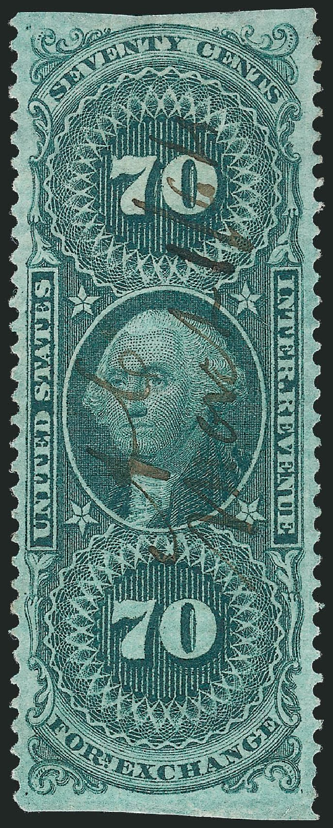 US Stamp Prices Scott Catalog #R65: 1862 70c Revenue Foreign Exchange. Robert Siegel Auction Galleries, Nov 2013, Sale 1061, Lot 4280
