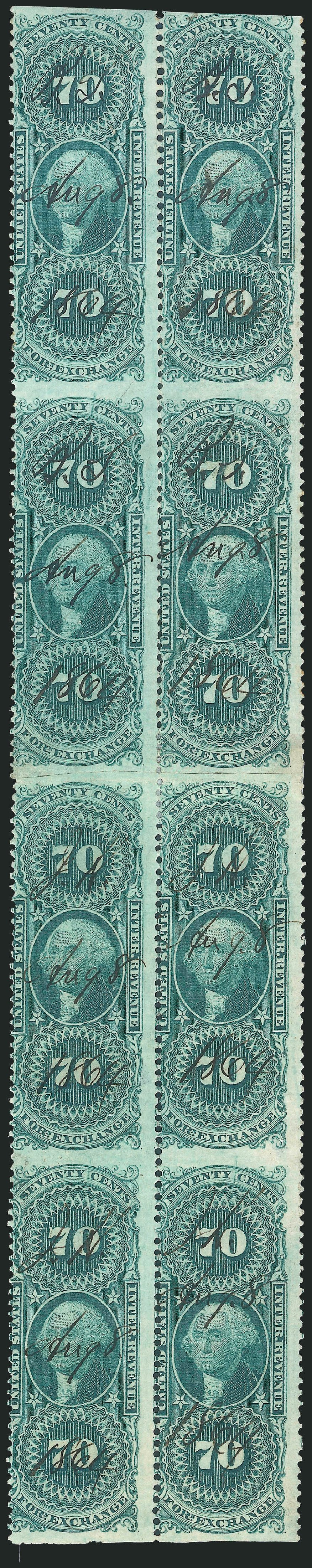 US Stamps Value Scott #R65 - 1862 70c Revenue Foreign Exchange. Robert Siegel Auction Galleries, Dec 2014, Sale 1089, Lot 414