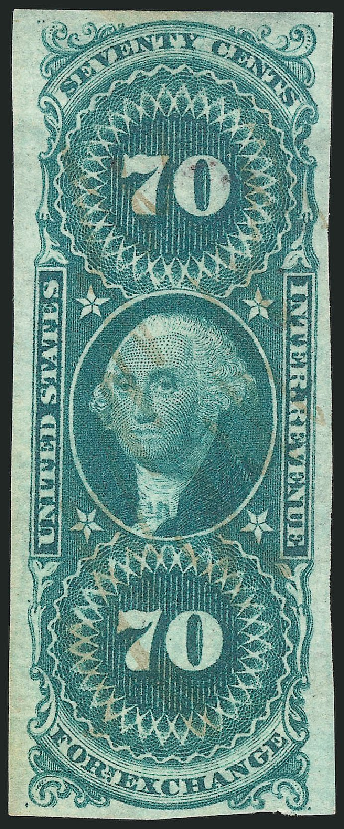 US Stamp Price Scott Catalogue #R65: 1862 70c Revenue Foreign Exchange. Robert Siegel Auction Galleries, Apr 2015, Sale 1096, Lot 964