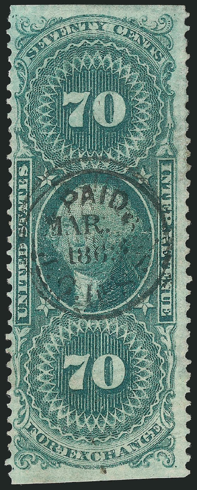 Costs of US Stamps Scott Catalog #R65 - 70c 1862 Revenue Foreign Exchange. Robert Siegel Auction Galleries, Oct 2012, Sale 1031, Lot 1025