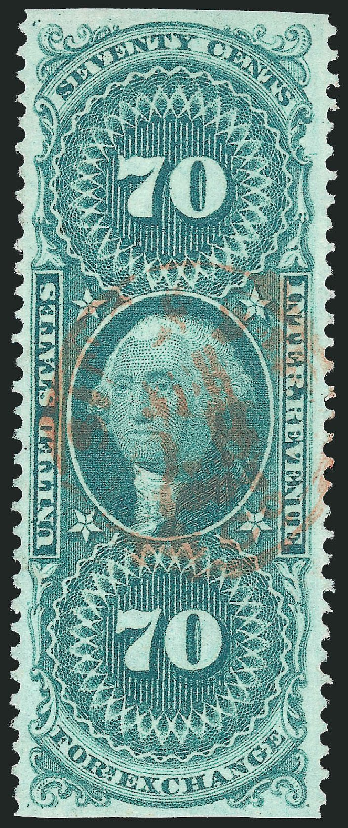Cost of US Stamp Scott # R65 - 70c 1862 Revenue Foreign Exchange. Robert Siegel Auction Galleries, Nov 2011, Sale 1015, Lot 62