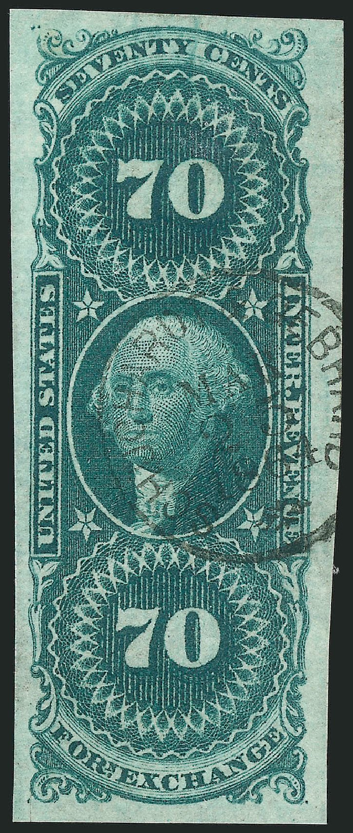 US Stamp Values Scott R65 - 70c 1862 Revenue Foreign Exchange. Robert Siegel Auction Galleries, Dec 2014, Sale 1089, Lot 232
