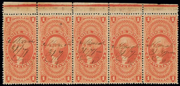 Price of US Stamp Scott Catalogue R66 - 1862 US$1.00 Revenue Conveyance. Matthew Bennett International, Jun 2008, Sale 328, Lot 1375