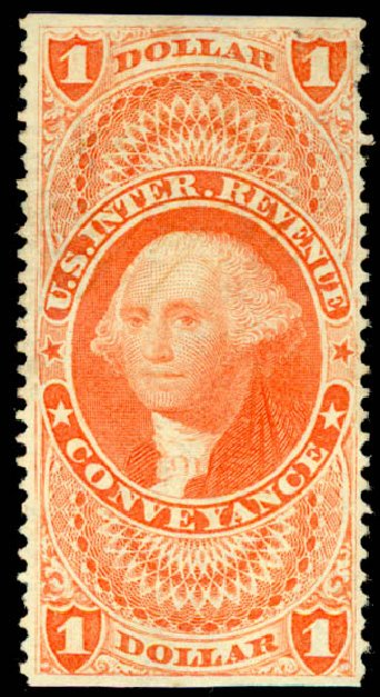 Values of US Stamp Scott Catalog R66 - 1862 US$1.00 Revenue Conveyance. Daniel Kelleher Auctions, Jun 2015, Sale 670, Lot 15