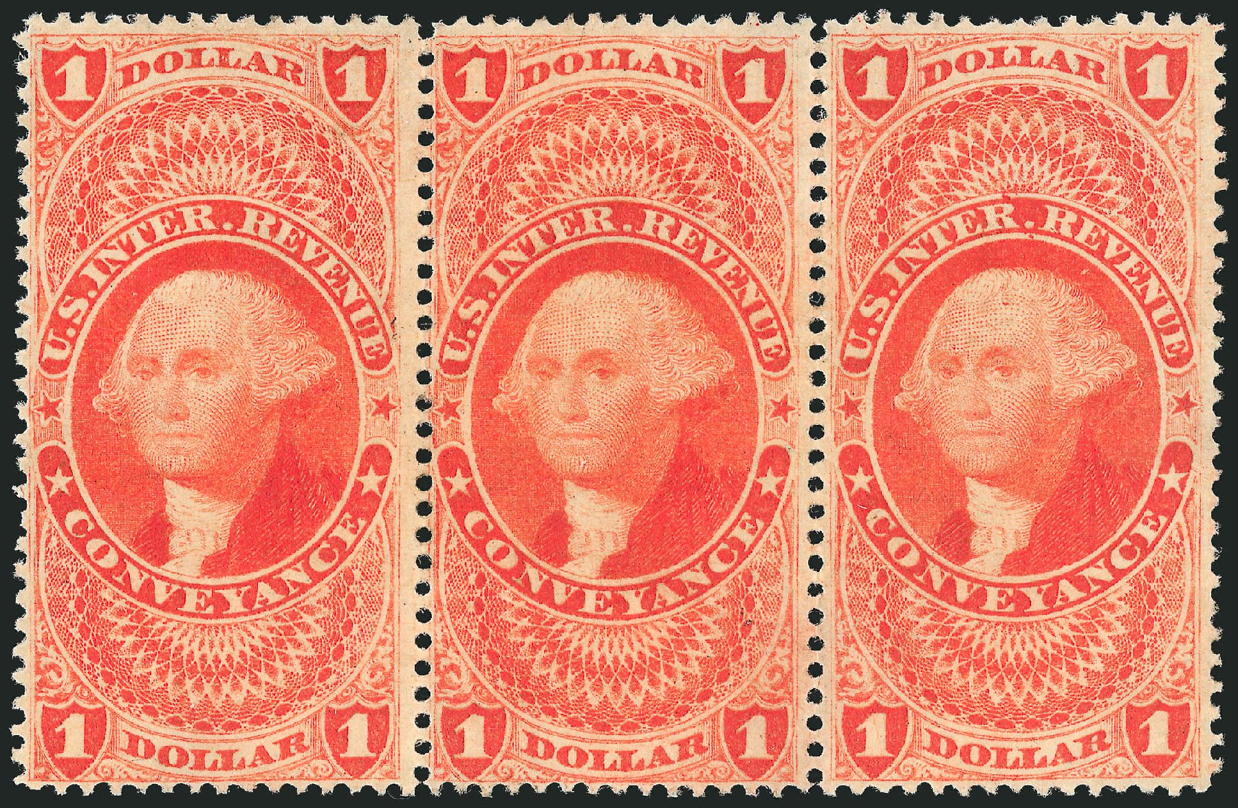US Stamp Prices Scott #R66: US$1.00 1862 Revenue Conveyance. Robert Siegel Auction Galleries, Dec 2014, Sale 1089, Lot 462