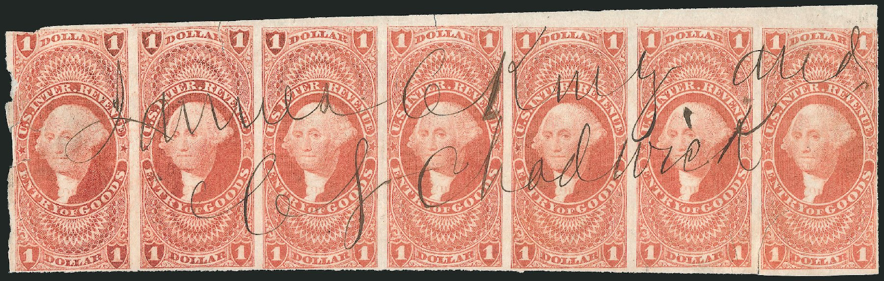 Costs of US Stamp Scott Cat. R67 - US$1.00 1862 Revenue Entry of Goods. Robert Siegel Auction Galleries, Dec 2014, Sale 1089, Lot 352