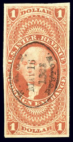 US Stamps Values Scott Catalogue #R68 - 1862 US$1.00 Revenue Foreign Exchange. Matthew Bennett International, Dec 2008, Sale 330, Lot 1989